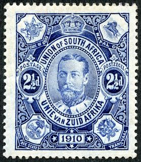 """Union of South Africa  1910 Scott 1 2½d blue """"George V"""" With the Union Parliament opening on November 4, 1910, this lovely engraved 2½ pence blue was issued. Each corner has the coat of arms of the four founding provinces and ex-colonies."""