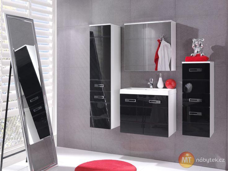 Sestava černobílých koupelnových skříněk Demario
