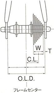 W:カセットスロケット、マルチプルフリーホイール全体の幅(シマノ9S:36.5mm、10S:37.5mm) T:リアディレーラー・ドロップアウト内側とトップギアの距離 O.L.D.:オーバーロックナット寸法(ロード:130mm、MTB:135mmが一般的) C.L.:チェーンライン