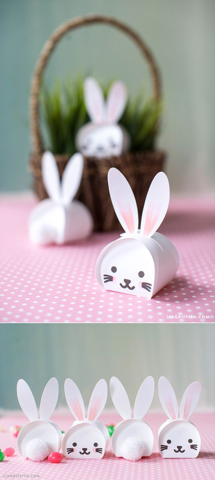 Easter Bunny #treatboxes svg template for your Cricut at www.LiaGriffith.com: