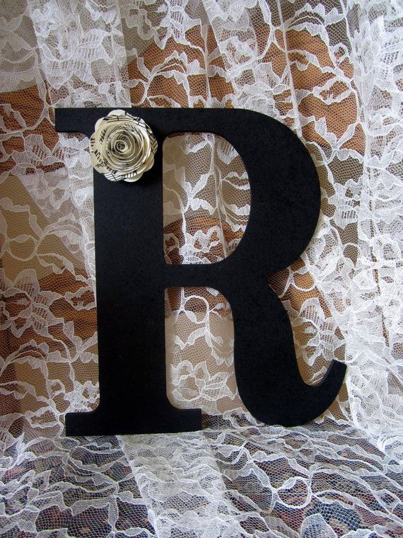 Black Letter R Wall Art Decor Wood Initial Wedding Newlywed Home Decor Sheet Music Flower