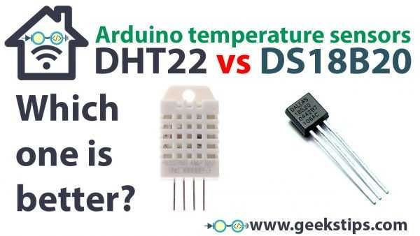 Temperature sensor comparison - DHT22 vs DS18B20 | Arduino tutorial