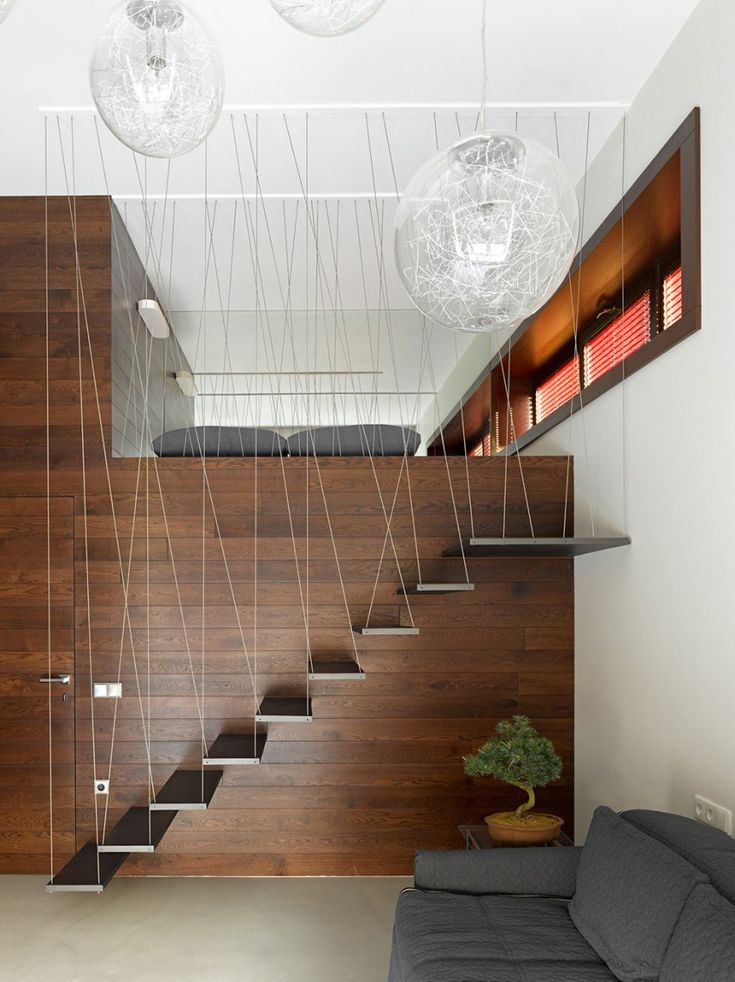 Design for hanging stairs at a residential house in Russia by Alexandra Fedorova