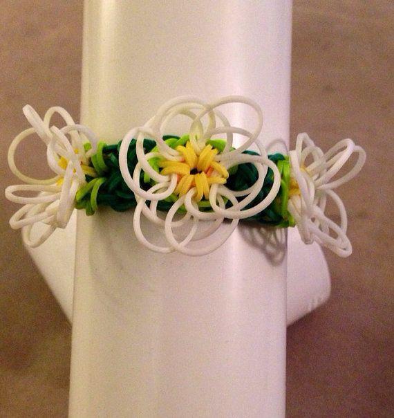 rainbow loom flower charm bracelet by lotsoloom on etsy
