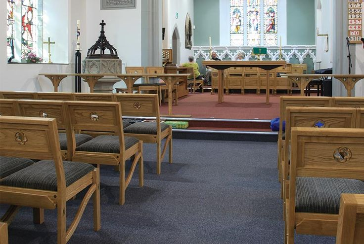 ICS Church Furnishers re designed the old church pews in St. Matthews, Chadderton, UK to new upholstered stackable chairs.