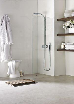 Shower Wall in Laminex Aquapanel Polar White small tile.