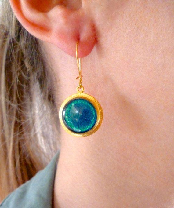 Round Earrings, Round Drop Earrings, Turquoise Earrings, Orange Earrings, Simple Earrings, Everyday Earrings, Minimalist Earrings, Gift