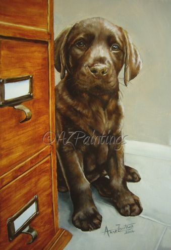 The Office Junior (Chocolate labrador puppy), painting by artist Anne Zoutsos