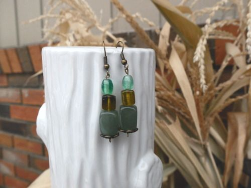 Beaded Earrings - blue,  sea green and yellow All proceeds go to safe homes against human trafficking in the Dominican Republic.