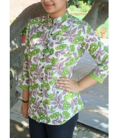 Green  Block Printed Front Open Cotton Top