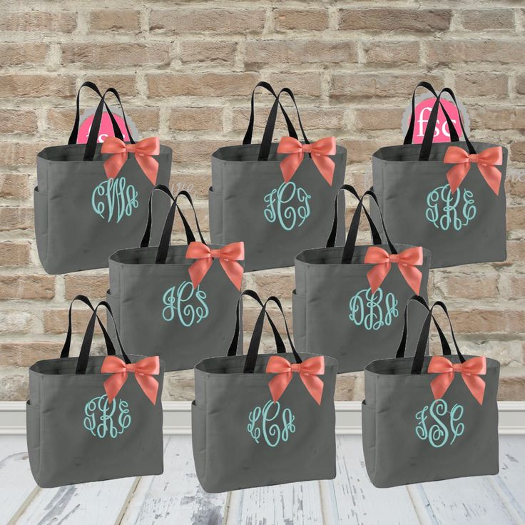 ONLY 9.00 each/ Set of 8 bridesmaid tote bags , bridesmaid gifts , tote bag , beach bag , bachelorette party gift ,wedding bag by FallenStarCoutureInc on Etsy https://www.etsy.com/listing/256123721/only-900-each-set-of-8-bridesmaid-tote