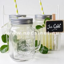 Pack of 6 Ice Cold Mason Mugs with Straw Lid