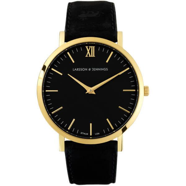 Larsson & Jennings Lugano 40mm Leather Watch - Gold/Black/Black (5,255 MXN) ❤ liked on Polyvore featuring men's fashion, men's jewelry, men's watches, watches, mens leather watches and mens gold watches