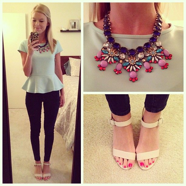 peplum  statement necklace | enh410 Cool party mini skirt with glitter heels Teen fashion Cute Dress! Clothes Casual Outift for • teens • movies • girls • women •. summer • fall • spring • winter • outfit ideas • dates • school • parties mint cute sexy ethnic skirt