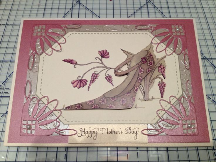 Mother's Day made with House of Zandra shoe decoupage & Memory Box Katie corner die.