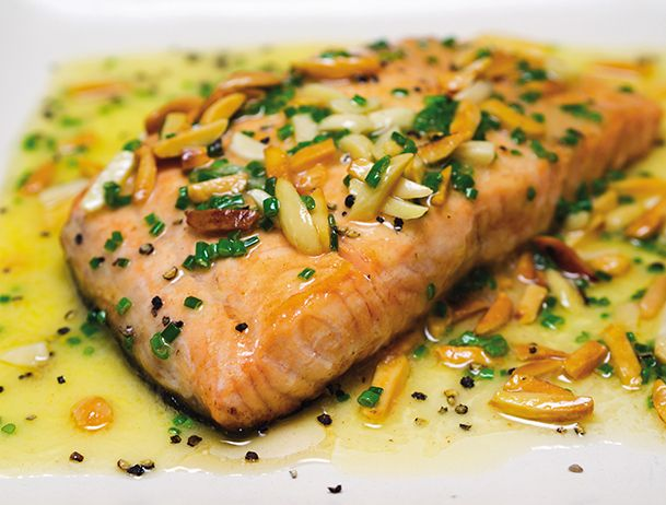 Salmon roasted in butter and almonds (gluten-free) recipe from David Perlmutter #glutenfree #salmon