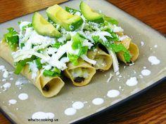 Flautas, Potatoes, Avocado, Lettuce, Corn, Tortillas, Sour Cream, Cabbage, Grated, Queso Fresco