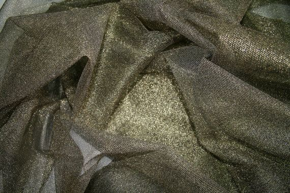 Metallic gold Tulle Netting Embroidered Fabric by BodikianTextiles