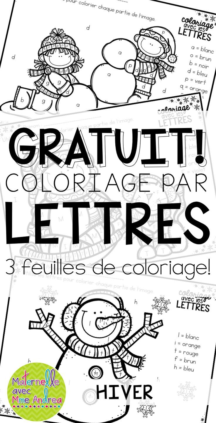 FREE French Winter colour by letter worksheets | Coloriage avec les lettres GRATUIT - Hiver | French Winter worksheets