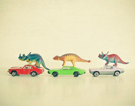 Nursery Art, Childrens Wall Art, Kids Decor, Still Life Photography, Retro Wall Art, Cars, Baby Decor - Dinosaurs Ride Cars