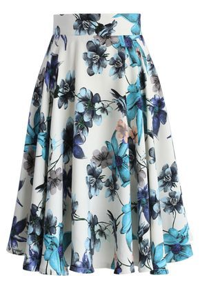 Blue Camellia A-line Skirt - New Arrivals - Retro, Indie and Unique Fashion