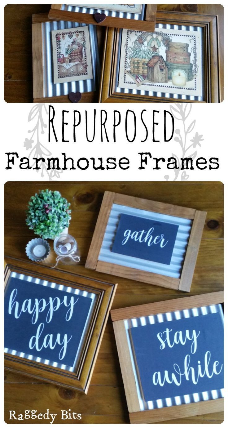 Think twice before you throw out your old pictures! Using some frames that I already had and were dated, I turned them into Repurposed Farmhouse Frames. Full tutorial. | http://www.raggedy-bits.com