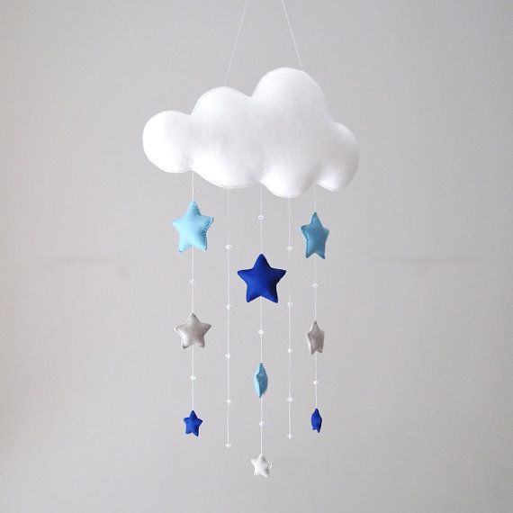 MADE TO ORDER Felt cloud and stars 100% wool by UnBonDiaHandmade