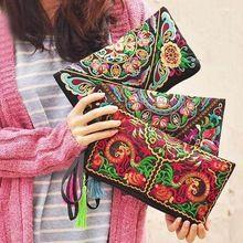 Efektní dámské kabelky National Cotton peněženka Jemná ruční práce vyšívané Bag Stylový nový (Čína (pevninská část))