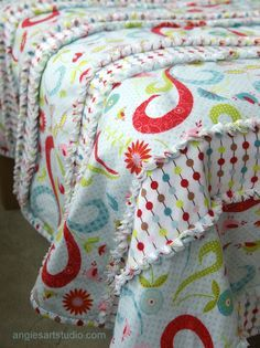 Striped Rag Blanket from fleece. This is way different and much cooler than a tie blanket!