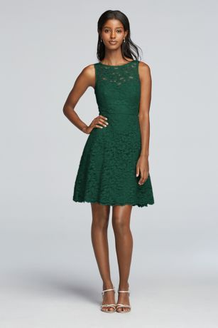 Short Sleeveless All Over Lace Bridesmaid Dress F18031  Another idea for my mom, this is Juniper color