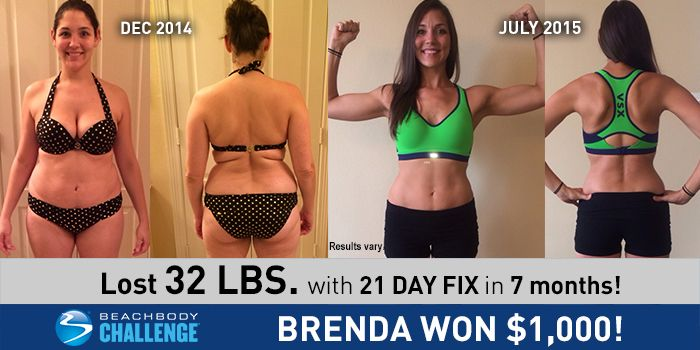 Brenda lost 32 lbs with 21 Day Fix and Shakeology. She entered her results into The Beachbody Challenge® and won $1,000!