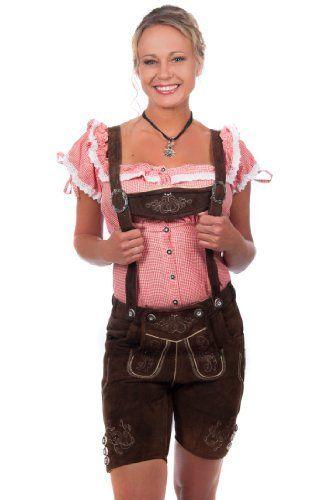 #Wiesn #Oktoberfest #Kurze #Damen #Trachten #Lederhose #braun aus #feinstem…