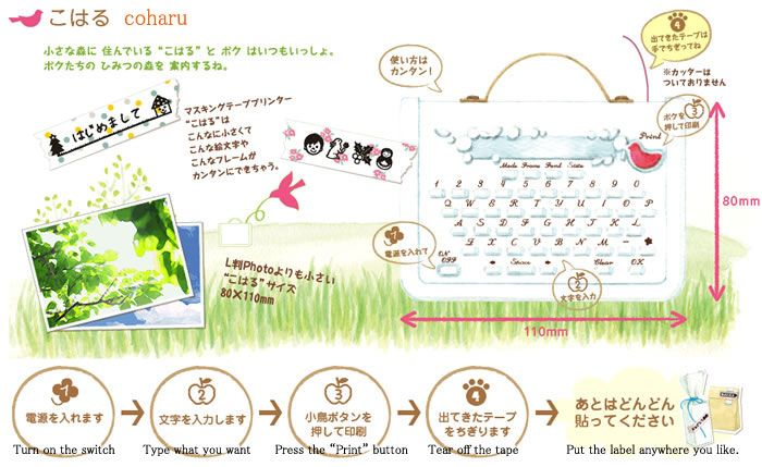 Masking Tape Printer: Coharu (White). This gadget prints on special masking tapes that can be used as labels or decorations for various occasions. You can print in English and Japanese — included are 4115 kanji characters, hiragana, katakana, numbers, special symbols and of course emoji. The masking tapes (sold separately) come in various colors and patterns.