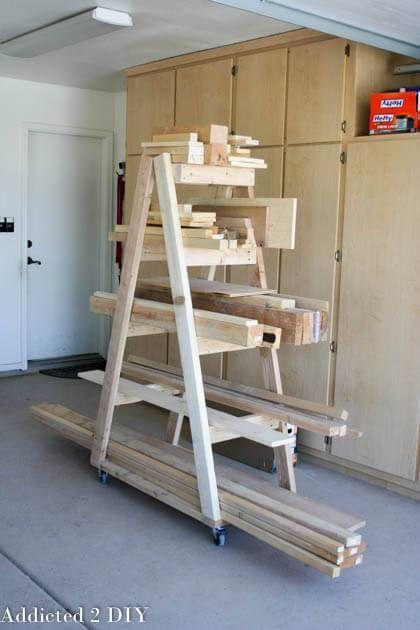 DIY Woodworking Ideas DIY Portable Lumber Rack    Free Plans   rogueengineer.com #DIYPortableLumberRac...