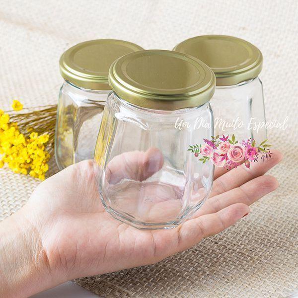 pote vidro oitavado 240ml ml geleia compota lembrancinha decoração casamento festa - Lembrancinhas e Decoração Romântica para Festas | Um Dia Muito Especial