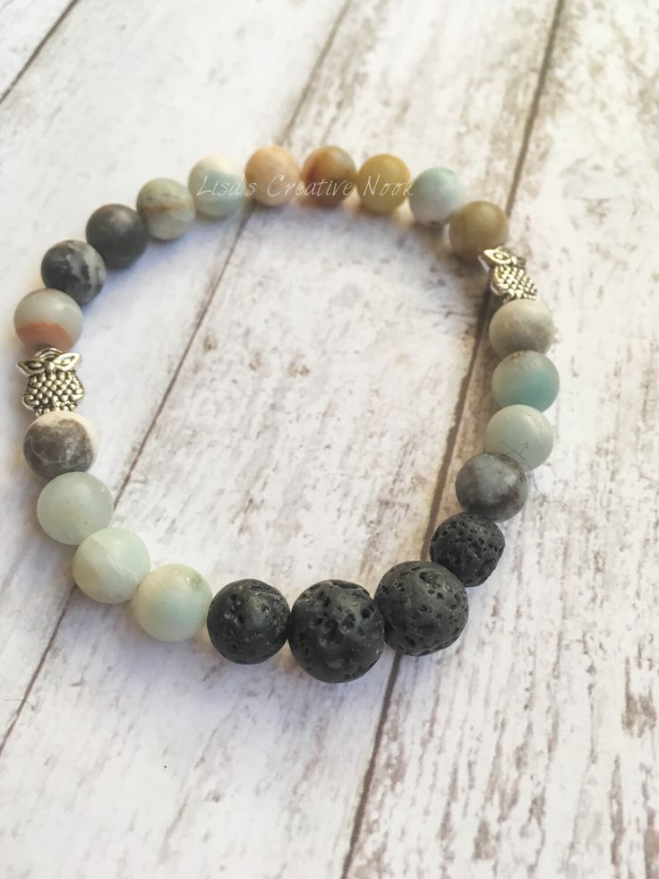 Women's Owl Essential Oil Diffuser Bracelet with Amazonite Natural Stones -Stretch Essential Oil Diffusing Lava Bead Bracelet by LisaCreativeNook on Etsy https://www.etsy.com/ca/listing/490140457/womens-owl-essential-oil-diffuser