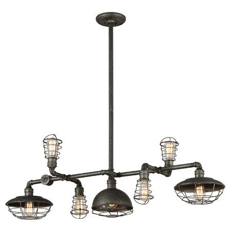 Showcasing a pipe-inspired frame and caged Edison bulbs, this eclectic iron pendant looks great suspended above your kitchen island or pool table.