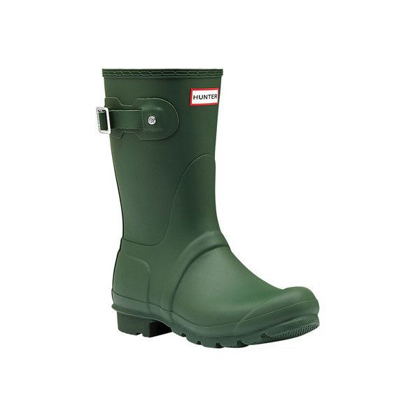 Women's Hunter Original Short Rain Boot ($140) ❤ liked on Polyvore featuring shoes, boots, casual, green, waterproof boots, mid-calf boots, wellies boots, waterproof rubber boots, waterproof rain boots and rubber rain boots