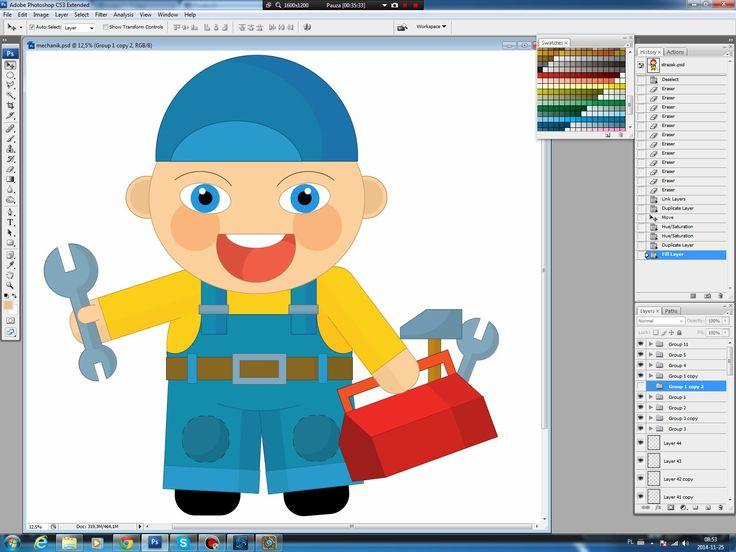 Illustrating drawing painting - cartoon mechanic