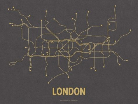 London (Dark Gray & Mustard) Serigraph by Line Posters at Art.com: London Underground, Design Inspiration, Picture-Black Posters, Dazzle Design, Dark Gray, Condos Decor, Art Com, London Dark, London Tube