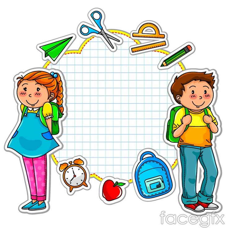 Cartoon school stickers vector