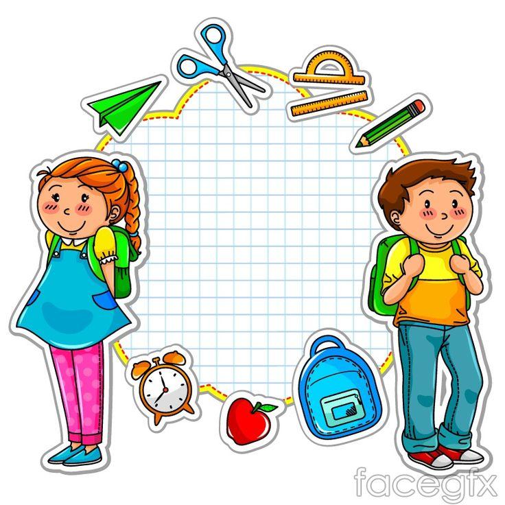 Cartoon school stickers vector