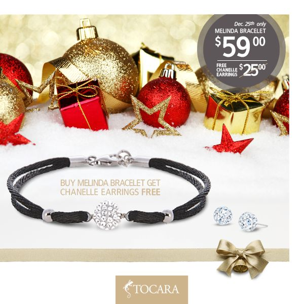 Merry Christmas! On the Fifth Day of Christmas, Tocara gave to me...  December 25th - Buy Melinda Bracelet, get Chanelle earrings FREE.  Melinda bracelet + Chanelle earrings for only $59 (reg. price $84).  To purchase ask your consultant or click the image.