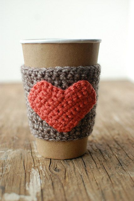Natural coffee cup cozy with pumpkin colored heart by The Cozy Project. $16,00, via Etsy.