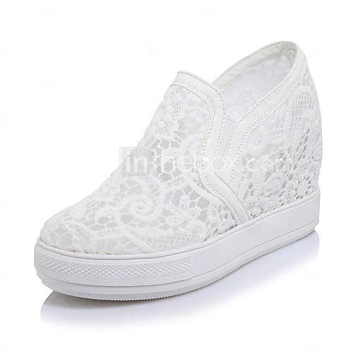 Mujer-Tacón Cuña-Zapatos del club Zapatos agujero-Zapatillas de deporte-Oficina y Trabajo Vestido Fiesta y Noche-Tul PU-Blanco Negro Rosa 2017 - $681.9