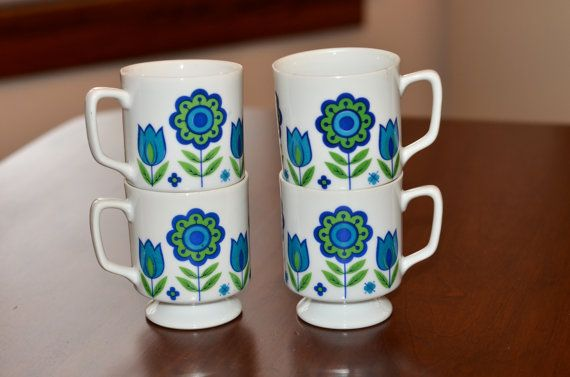 Retro Flower Power Blue & Green Stemmed Mugs  by RedTellyVintage, $22.00