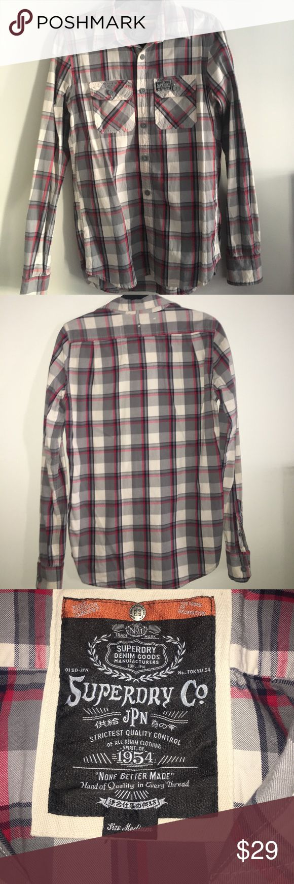 SUPERDRY Men's Plaid Button-down Shirt size M 100% Authentic SUPERDRY Co Men's Plaid Shirt. Size Medium. Never worn- perfect condition. Lumberjack style.   Grey, beige, blue, white, red shades. Superdry Shirts Casual Button Down Shirts