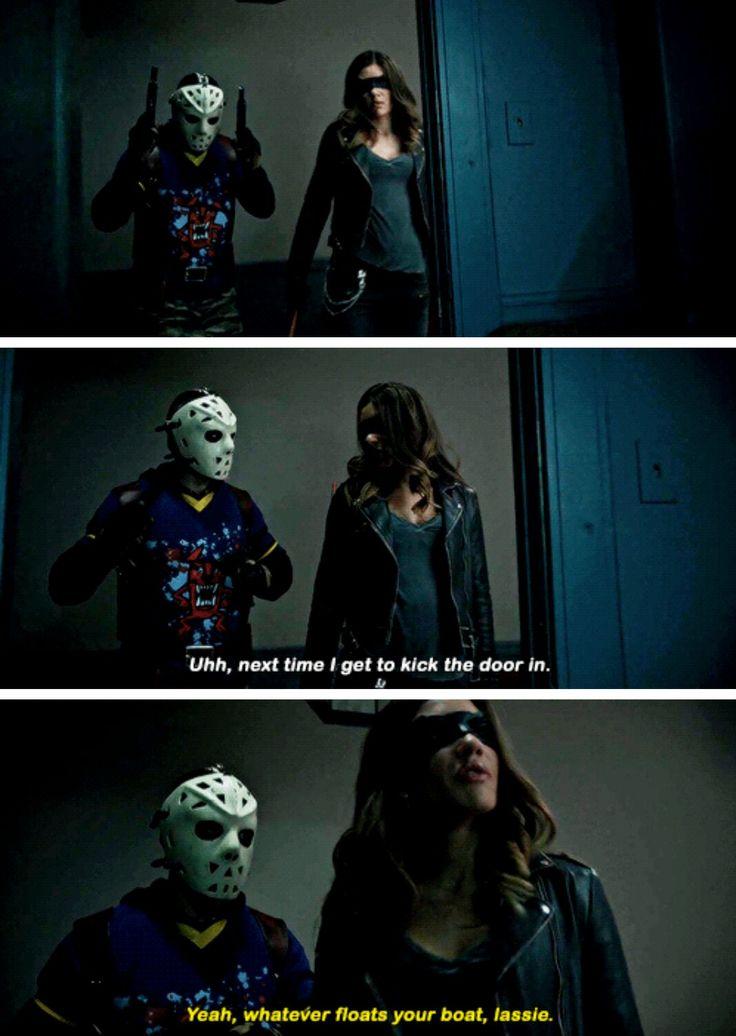 "#Arrow 5x16 ""Checkmate"" - ""Next time I get to kick the door in"" - #ReneRamirez #DinahDrake"