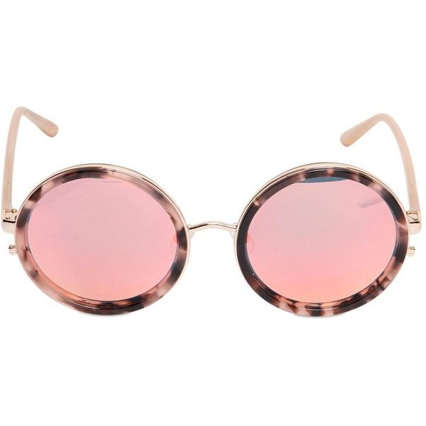 MATTHEW WILLIAMSON BY LINDA FARROW Rounded Sunglasses With Mirror Lens ($319) ❤ liked on Polyvore featuring accessories, eyewear, sunglasses, glasses, nude, rose colored glasses, rose sunglasses, amber rose sunglasses, tortoise sunglasses and round lens sunglasses