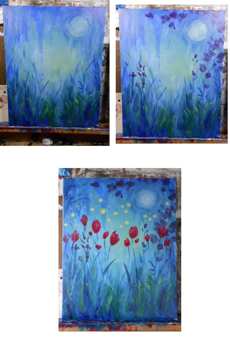Moonlight garden process, beginner painting idea. This is lovely!